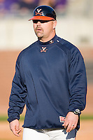 Virginia Cavaliers coach Kevin McMullan #44 at Clark-LeClair Stadium on February 19, 2010 in Greenville, North Carolina.   Photo by Brian Westerholt / Four Seam Images