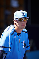 Charlotte Stone Crabs pitcher Kyle Bird (17) in the dugout during a game against the Palm Beach Cardinals on April 10, 2016 at Charlotte Sports Park in Port Charlotte, Florida.  Palm Beach defeated Charlotte 4-1.  (Mike Janes/Four Seam Images)