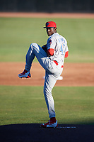 Clearwater Threshers starting pitcher Franklyn Kilome (47) delivers a pitch during a game against the Dunedin Blue Jays on April 8, 2017 at Florida Auto Exchange Stadium in Dunedin, Florida.  Dunedin defeated Clearwater 12-6.  (Mike Janes/Four Seam Images)