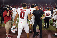 LOS ANGELES, CA - SEPTEMBER 11: Tavita Pritchard celebrates with Isaiah Sanders #0 of the Stanford Cardinal in the final minutes of the fourth quarter during a game between University of Southern California and Stanford Football at Los Angeles Memorial Coliseum on September 11, 2021 in Los Angeles, California.