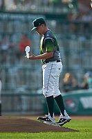 Fort Wayne TinCaps starting pitcher Ryan Weathers (25) uses the rosin bag during the game against the West Michigan Whitecaps at Parkview Field on August 5, 2019 in Fort Wayne, Indiana. The TinCaps defeated the Whitecaps 9-3. (Brian Westerholt/Four Seam Images)