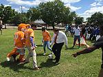Sharpstown students enjoy a game with Houston Dyamo Boniek Garcia.