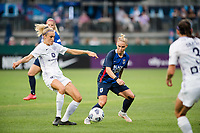 TACOMA, WA - JULY 31: Freja Olofsson #8 of Racing Louisville FC and Jessica Fishlock #10 of the OL Reign battle for the ball during a game between Racing Louisville FC and OL Reign at Cheney Stadium on July 31, 2021 in Tacoma, Washington.