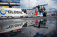 Jul 10, 2020; Clermont, Indiana, USA; NHRA top fuel driver Antron Brown prepares to do a burnout during testing for the Lucas Oil Nationals at Lucas Oil Raceway. This will be the first race back for NHRA since the COVID-19 pandemic. Mandatory Credit: Mark J. Rebilas-USA TODAY Sports