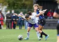 duel  pictured between Stefania Vatafu (10 Anderlecht)  and Marie Minnaert (13 Brugge) during a female soccer game between Club Brugge Dames YLA and RSC Anderlecht Ladies on the fifth matchday of the 2020 - 2021 season of Belgian Scooore Womens Super League , sunday 18 October 2020  in Brugge , Belgium . PHOTO SPORTPIX.BE | SPP | DAVID CATRY