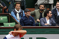 Yannick Bollore, Jalil Lespert and Cyril Hanouna watching tennis during Roland Garros tennis open 2016 on may 29 2016.