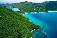 Aerial view of St John showing Francis Bay and Mary Creek<br /> Virgin Islands National Park<br /> St. John, U.S. Virgin Islands