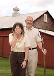 Photos Copyright Jim Mendenhall 2011 May 7, 2011 Craig and Carol Powell at their rural home in Meadville, Pa. This set up became a parody of American Gothic the famed painting. They are contributors to World Vision.