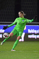 goalkeeper Josephine Delvaux (1) of KRC Genk pictured during a female soccer game between  AA Gent Ladies and Racing Genk on the 12 th matchday of the 2020 - 2021 season of Belgian Scooore Womens Super League , friday 29 th of January 2021  in Oostakker , Belgium . PHOTO SPORTPIX.BE | SPP | DIRK VUYLSTEKE