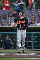 Eric Filia (4) of the Modesto Nuts bats against the Inland Empire 66ers at San Manuel Stadium on June 2, 2017 in San Bernardino, California. Inland Empire defeated Modesto, 7-2. (Larry Goren/Four Seam Images)