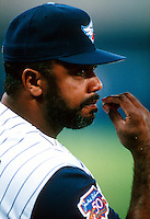 Coach Dave Parker of the Anaheim Angels during a game at Anaheim Stadium in Anaheim, California during the 1997 season.(Larry Goren/Four Seam Images)