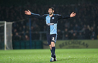 Joe Jacobson of Wycombe Wanderers asks questions during the Sky Bet League 2 match between Wycombe Wanderers and Notts County at Adams Park, High Wycombe, England on 15 December 2015. Photo by Andy Rowland.