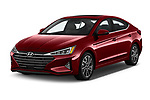 2020 Hyundai Elantra Limited 4 Door Sedan Angular Front stock photos of front three quarter view