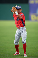 Williamsport Crosscutters Jesus Azuaje (4) warms up before a game against the Batavia Muckdogs on August 19, 2017 at Dwyer Stadium in Batavia, New York.  Batavia defeated Williamsport 11-1 in five innings due to rain.  (Mike Janes/Four Seam Images)