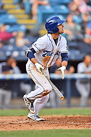 Asheville Tourists left fielder Terrin Vavra (6) runs to first base after hitting a home run during game one of a double header against the Charleston RiverDogs at McCormick Field on April 9, 2019 in Asheville, North Carolina. The Tourists defeated the RiverDogs 17-3. (Tony Farlow/Four Seam Images)