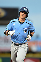Charlotte Stone Crabs first baseman Jake Bauers (23) runs the bases during a game against the Bradenton Marauders on April 20, 2015 at McKechnie Field in Bradenton, Florida.  Charlotte defeated Bradenton 6-2.  (Mike Janes/Four Seam Images)