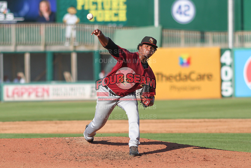 Quad Cities River Bandits pitcher Francis Martes (12) delivers a pitch during a Midwest League game against the Wisconsin Timber Rattlers on July 17th, 2015 at Fox Cities Stadium in Appleton, Wisconsin. Quad Cities defeated Wisconsin 4-2. (Brad Krause/Four Seam Images)
