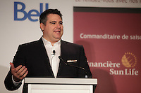 Nov 13, 2012 - Montreal,  Quebec, CANADA - <br /> David Bensadoun, President, ALDO Global Retail & ALDO Product Services of ALDO Group, at the Canadian Club of Montreal's podium.<br /> <br /> As the shoe giant celebrates its 40th Anniversary, meet David Bensadoun, President of ALDO Global Retail and ALDO Product Services, as he shares the brand's history and the opportunities the company hopes to develop in the coming years on the global stage. Having been with the ALDO Group for the past 17 years, Mr. Bensadoun is now responsible for 1,000 stores in 4 corporately run countries, wholesale distribution and private label footwear and fashion accessories across the world.
