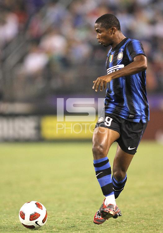 Samuel Eto'o #9 of Inter Milan during an international friendly match against Manchester City on July 31 2010 at M&T Bank Stadium in Baltimore, Maryland. Milan won 3-0.