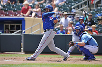 Round Rock Express third baseman Jason Martinson (5) swings during a game against the Omaha Storm Chasers at Werner Park on May 29, 2017 in Omaha, Nebraska.  Omaha won 10-8.  (Dennis Hubbard/Four Seam Images)