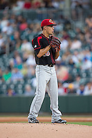 Rochester Red Wings starting pitcher Jose Berrios (16) looks to his catcher for the sign against the Charlotte Knights at BB&T BallPark on August 8, 2015 in Charlotte, North Carolina.  The Red Wings defeated the Knights 3-0.  (Brian Westerholt/Four Seam Images)