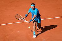 June 3, 2015: Rafael Nadal of Spain in action in a Quarterfinal match against Novak Djokovic of Serbia on day eleven of the 2015 French Open tennis tournament at Roland Garros in Paris, France. Djokovic won 75 63 61. Sydney Low/AsteriskImages
