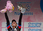 John Degenkolb (GER) Team Giant-Alpecin wins the 106th edition of the Milan-San Remo 2015 cycle race, Milan, Italy. 22nd March 2015. <br /> Photo: ANSA/Claudio Peri/www.newsfile.ie