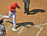 16 June 2012: Washington Nationals shortstop Ian Desmond crosses the plate with a game-tying solo home run in the 8th inning against the New York Yankees at Nationals Park in Washington, DC. The Yankees defeated the Nationals in 14 innings by a score of 5-3, taking the second game of their 3-game series. Mandatory Credit: Ed Wolfstein Photo