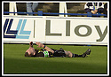 26/10/02       Collect Pic : James Stewart                     .File Name : stewart-qots v ross county 09.REFEREE DAVID SOMERS LIES FLAT OUT AFTER BEING STRUCK WITH THE BALL..........James Stewart Photo Agency, 19 Carronlea Drive, Falkirk. FK2 8DN      Vat Reg No. 607 6932 25.Office : +44 (0)1324 570906     .Mobile : + 44 (0)7721 416997.Fax     :  +44 (0)1324 570906.E-mail : jim@jspa.co.uk.If you require further information then contact Jim Stewart on any of the numbers above.........
