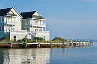 Waterfront houses, Sailfish Point, Roanoke Island, Outer Banks, North Carolina