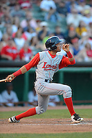 Lowell Spinners outfielder Williams Jerez (25) during a game against the Tri-City ValleyCats on July 5, 2013 at Joseph L. Bruno Stadium in Troy, New York.  Tri-City defeated Lowell 5-4.  (Mike Janes/Four Seam Images)