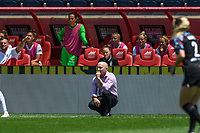 BRIDGEVIEW, IL - JUNE 5: North Carolina Courage head coach Paul Riley looks on during a game between North Carolina Courage and Chicago Red Stars at SeatGeek Stadium on June 5, 2021 in Bridgeview, Illinois.