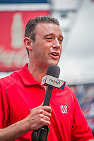 21 June 2015: MASN Broadcaster Dan Kolko gives pre-game insight from the field prior to a game between the Washington Nationals and the Pittsburgh Pirates at Nationals Park in Washington, DC. The Nationals defeated the Pirates 9-2 to sweep their 3-game weekend series, and improve their record to 37-33. Mandatory Credit: Ed Wolfstein Photo *** RAW (NEF) Image File Available ***