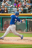 Brian Burgamy (7) of the Oklahoma City Dodgers at bat against the Salt Lake Bees in Pacific Coast League action at Smith's Ballpark on May 27, 2015 in Salt Lake City, Utah.  (Stephen Smith/Four Seam Images)