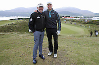 27 May 2015; Darren Clarke and Stevie Ferris pose for a photo at the 9th<br /> <br /> Dubai Duty Free Irish Open Golf Championship 2015, Pro-Am. Royal County Down Golf Club, Co. Down. Picture credit: John Dickson / DICKSONDIGITAL