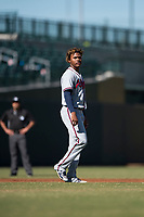Peoria Javelinas center fielder Cristian Pache (27), of the Atlanta Braves organization, during an Arizona Fall League game against the Mesa Solar Sox at Sloan Park on November 6, 2018 in Mesa, Arizona. Mesa defeated Peoria 7-5 . (Zachary Lucy/Four Seam Images)