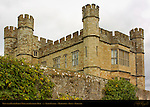 View over Outer Bailey Wall from Eastern Moat, Leeds Castle, Maidstone, Kent, England, UK