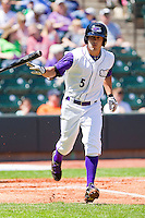 Daniel Wagner #5 of the Winston-Salem Dash tosses his bat towards the dugout after taking ball four against the Kinston Indians at BB&T Ballpark on April 17, 2011 in Winston-Salem, North Carolina.   Photo by Brian Westerholt / Four Seam Images