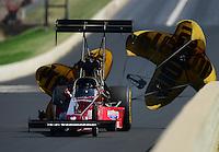 Jul, 21, 2012; Morrison, CO, USA: NHRA top fuel dragster driver Scott Palmer during qualifying for the Mile High Nationals at Bandimere Speedway. Mandatory Credit: Mark J. Rebilas-US PRESSWIRE