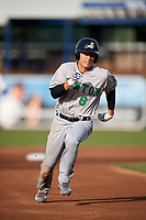 Clinton LumberKings second baseman Bryson Brigman (8) runs the bases during a game against the West Michigan Whitecaps on May 3, 2017 at Fifth Third Ballpark in Comstock Park, Michigan.  West Michigan defeated Clinton 3-2.  (Mike Janes/Four Seam Images)