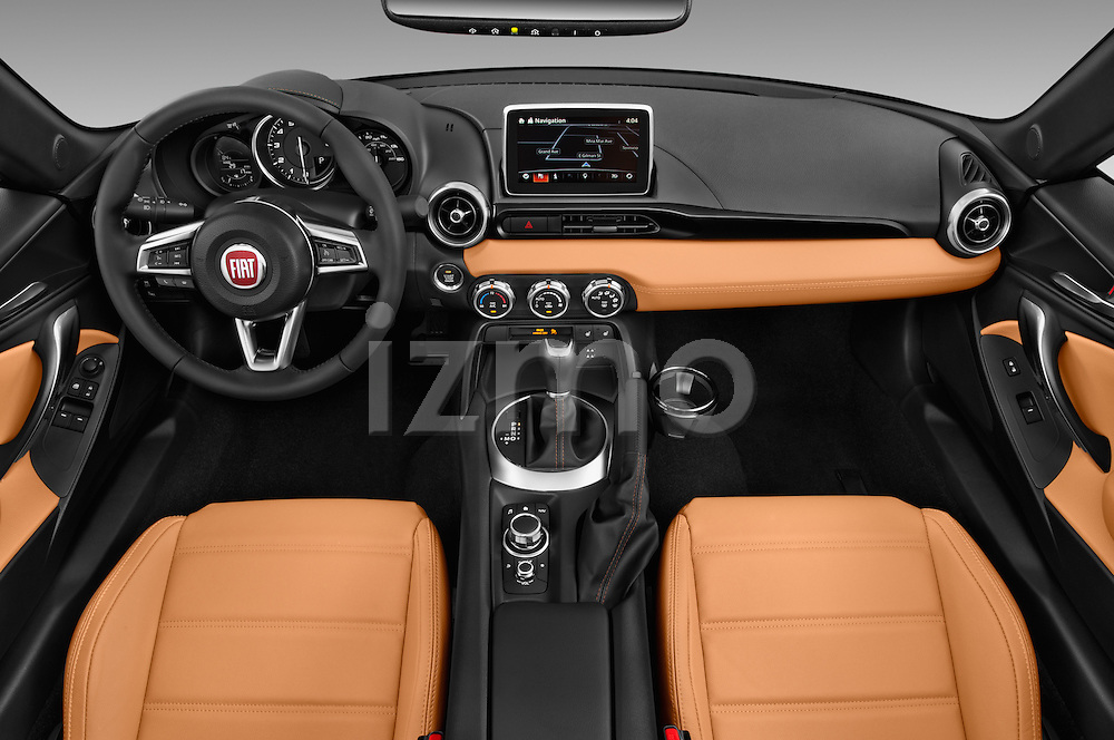 Stock photo of straight dashboard view of 2018 Fiat 124-Spider 1.4-Lusso 2 Door Convertible Dashboard