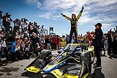 #26: Colton Herta, Andretti Autosport w/ Curb-Agajanian Honda celebrates his win in Victory Lane, podium