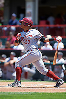 Altoona Curve center fielder Harold Ramirez (23) at bat during a game against the Erie SeaWolves on July 10, 2016 at Jerry Uht Park in Erie, Pennsylvania.  Altoona defeated Erie 7-3.  (Mike Janes/Four Seam Images)