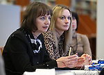 Librarians from the Republic of Belarus, Maryna Pshybytka and Maryia Liatsiaha ask questions through interpreters during a tour the Nevada State Library, Archives and Public Records in Carson City, Nev. on Friday, Jan. 27, 2017. The group is traveling the United States as part of a three-week, multi-state tour to learn about the educational, social and economic impact of public libraries in American society.<br /> Photo by Cathleen Allison/Nevada Photo Source