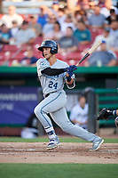 West Michigan Whitecaps designated hitter Dylan Rosa (24) follows through on a swing during a game against the Kane County Cougars on July 19, 2018 at Northwestern Medicine Field in Geneva, Illinois.  Kane County defeated West Michigan 8-5.  (Mike Janes/Four Seam Images)