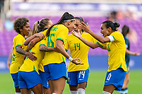 ORLANDO, FL - FEBRUARY 18: Debinha #9, Beatriz #16 and Marta #10 of Brazil celebrates during a game between Argentina and Brazil at Exploria Stadium on February 18, 2021 in Orlando, Florida.