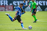 SAN JOSE, CA - APRIL 24: Andres Rios #25 of the San Jose Earthquakes shoots the ball during a game between FC Dallas and San Jose Earthquakes at PayPal Park on April 24, 2021 in San Jose, California.