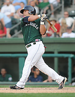First baseman Miles Head (20) of the Greenville Drive, Class A affiliate of the Boston Red Sox, in a game against the Augusta GreenJackets on April 10, 2011, at Fluor Field at the West End in Greenville, South Carolina. (Tom Priddy / Four Seam Images)