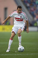 Chicago Fire midfielder Marco Pappa (16) traps the ball. The New England Revolution out scored the Chicago Fire, 2-1, in Game 1 of the Eastern Conference Semifinal Series at Gillette Stadium on November 1, 2009.