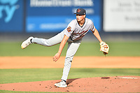 Bowling Green Hot Rods starting pitcher Zack Trageton (11) delivers a pitch during a game against the Asheville Tourists on May 29, 2021 at McCormick Field in Asheville, NC. (Tony Farlow/Four Seam Images)